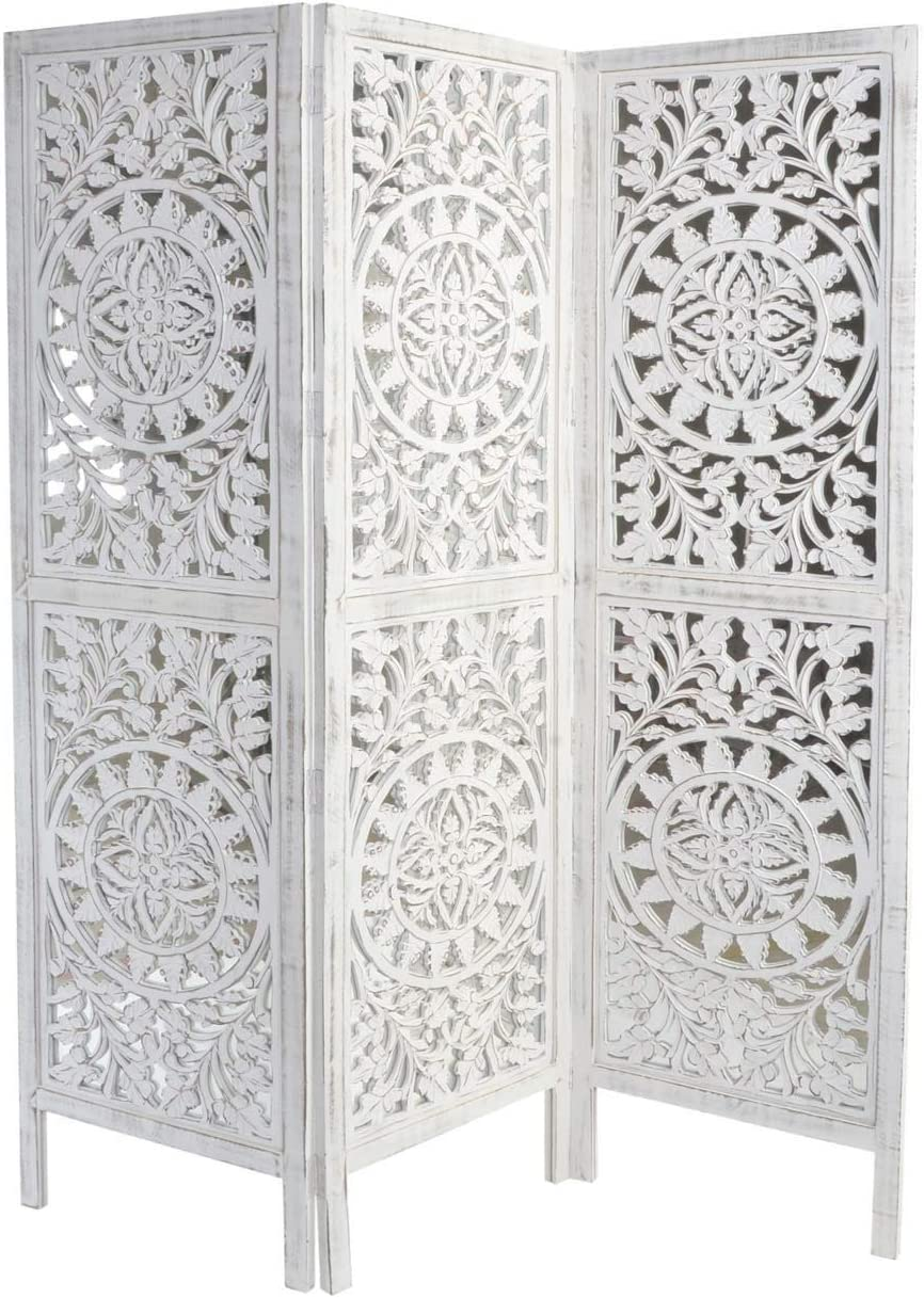 DRW Biombo Mandala y Flores Madera y Espejo Blanco Desgastado 1 Sola Cara 150X3X180 cm: Amazon.es: Hogar