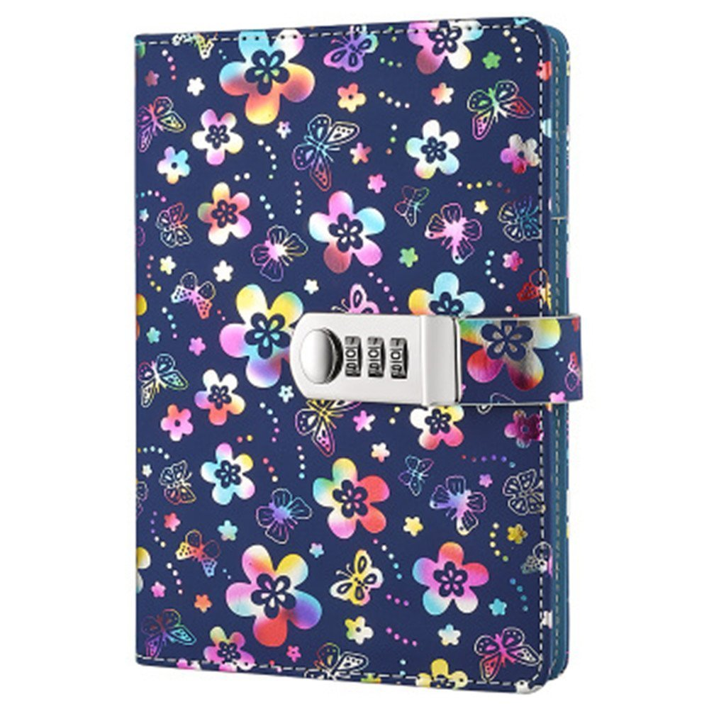 PU Leather Password Lock Diary, A5 Size Diary with Combination Lock Password Journal Locking Personal Diary (Multicolor)
