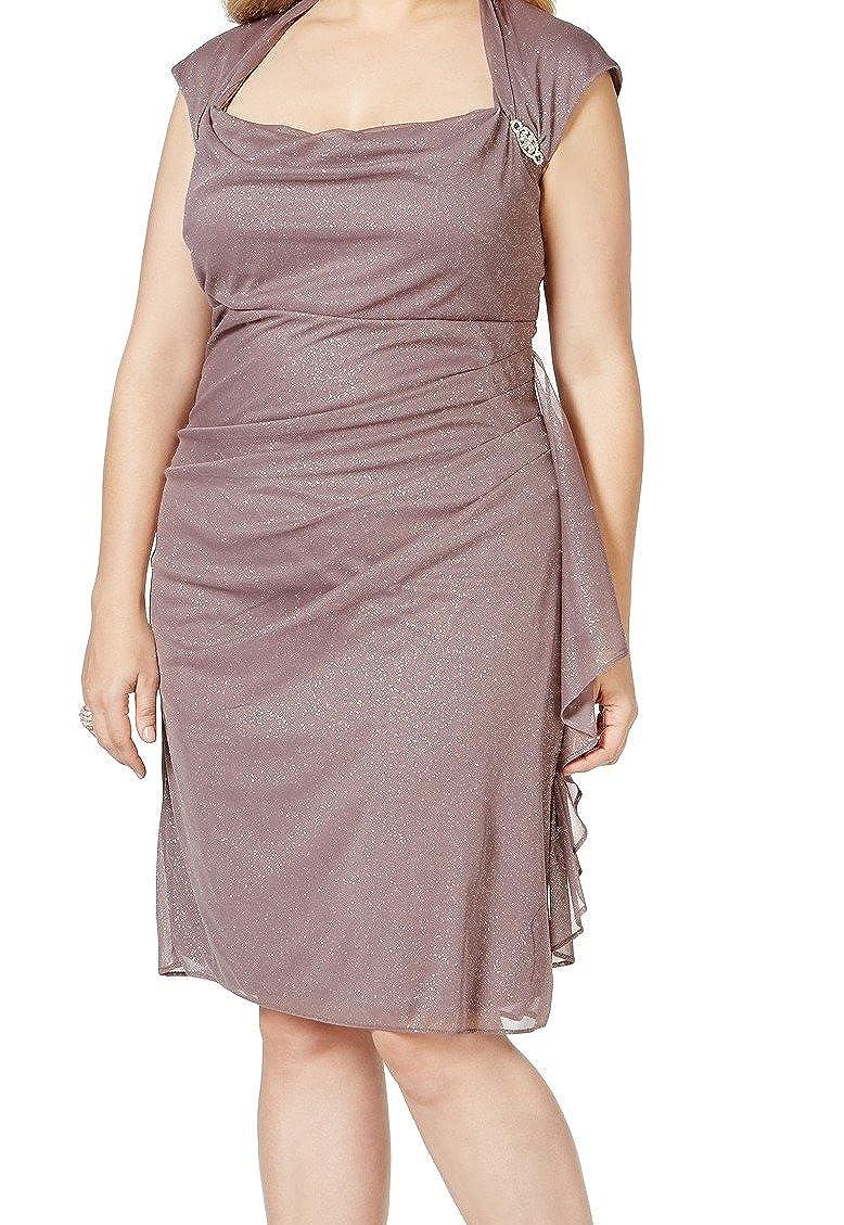R&M Richards Women\'s Plus Size Ruched Glitter Chiffon Dress ...
