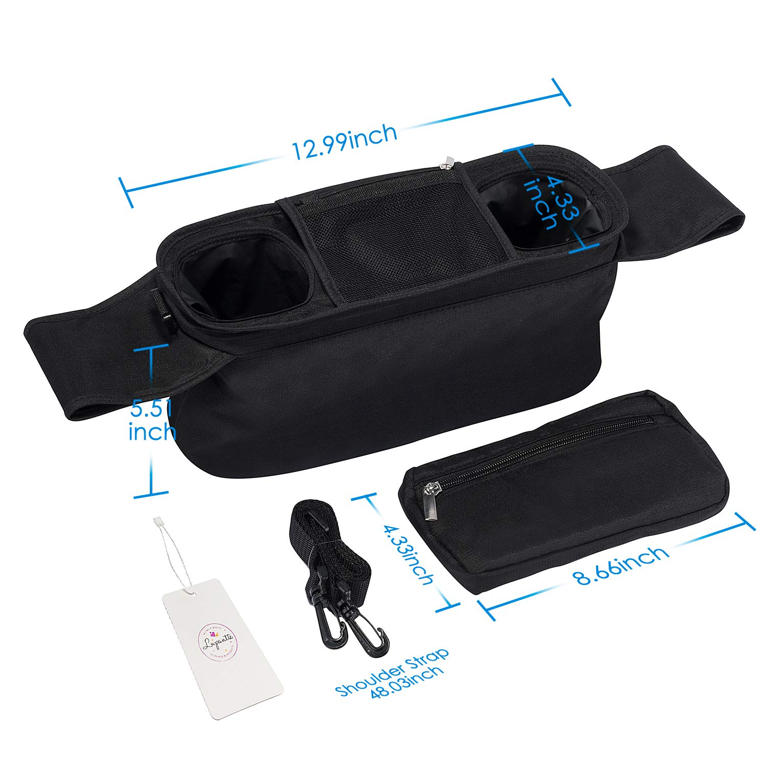 Universal Stroller Organizer with 2 Insulated Cup Holders, Lupantte Stroller Accessories, for Carrying Diaper, iPhone, Toys & Snacks, Fits Britax, Uppababy, Baby Jogger, Bugaboo and BOB Stroller. by Lupantte (Image #7)