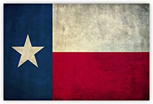 Antique Texas Flag Wall Decor Canvas Oil Painting Retro Rustic Wall Art for Home Living Room Bedroom Kitchen Decoration-Ready to Hang