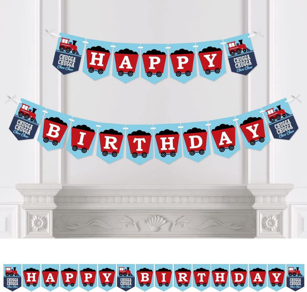Birthday Party Decorations Steam Train Birthday Party Bunting Banner Big Dot of Happiness Railroad Party Crossing Happy Birthday