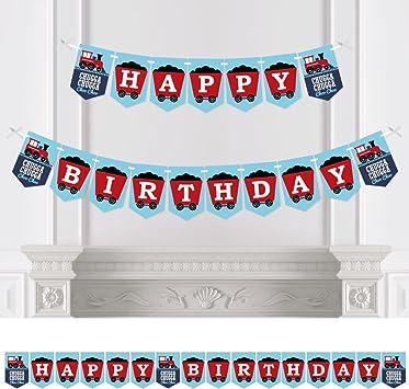 Amazon.com: Tren – Fiesta de cumpleaños Bunting Banner ...