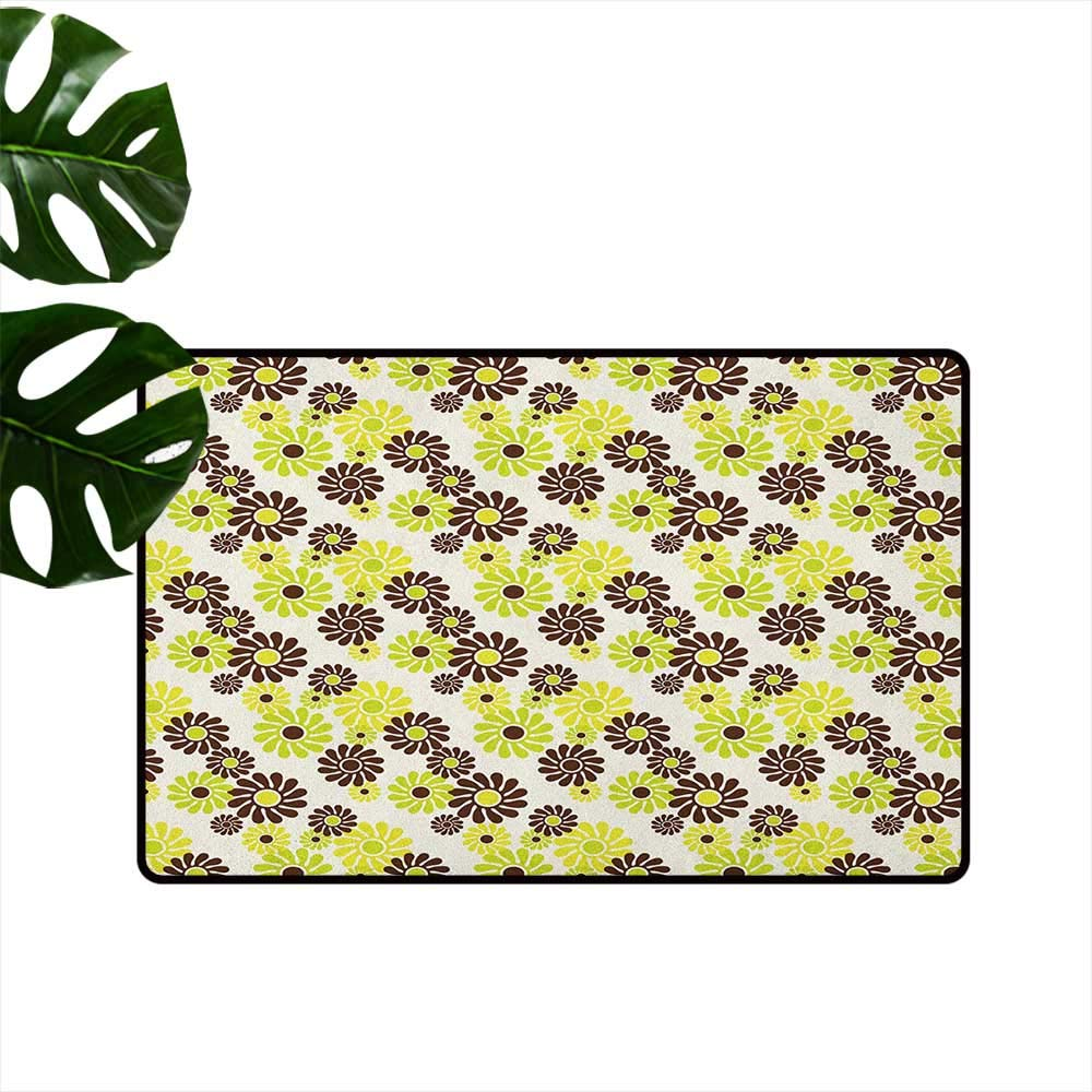 color02 W31\ Geometric Latex Backing Non Slip Door Mat Vibrant Toned Floral Abstract Hippie Pattern Freedom Peace Easy to Clean W31 x L47 Chestnut Brown Apple Green Cream