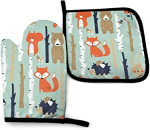 N/W Cute Fox, Bear, Bunny in Cartoon Heat Resistant Oven Mitts Soft Cotton Lining with Non-Slip Surface for Safe BBQ Cooking Baking Grilling in Family Oven Mitt 11'' X 6.2'' and Pot Holder 8'' X 8''