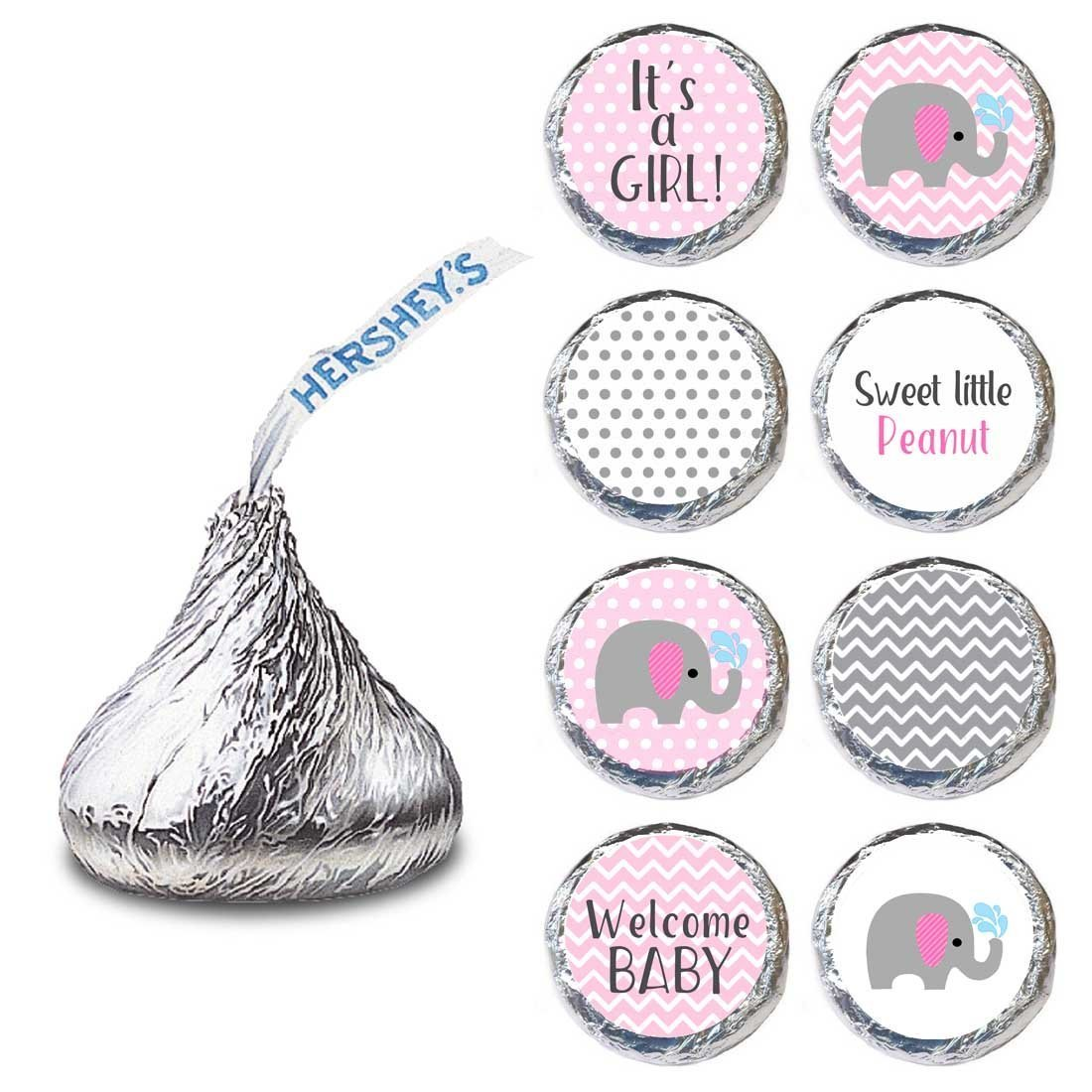 Baby Girl Elephant Labels for HERSHEY'S KISSES® chocolates - Baby Shower Candy Stickers - Set of 240