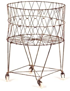 moda home vintage collapsible rolling metal laundry basket