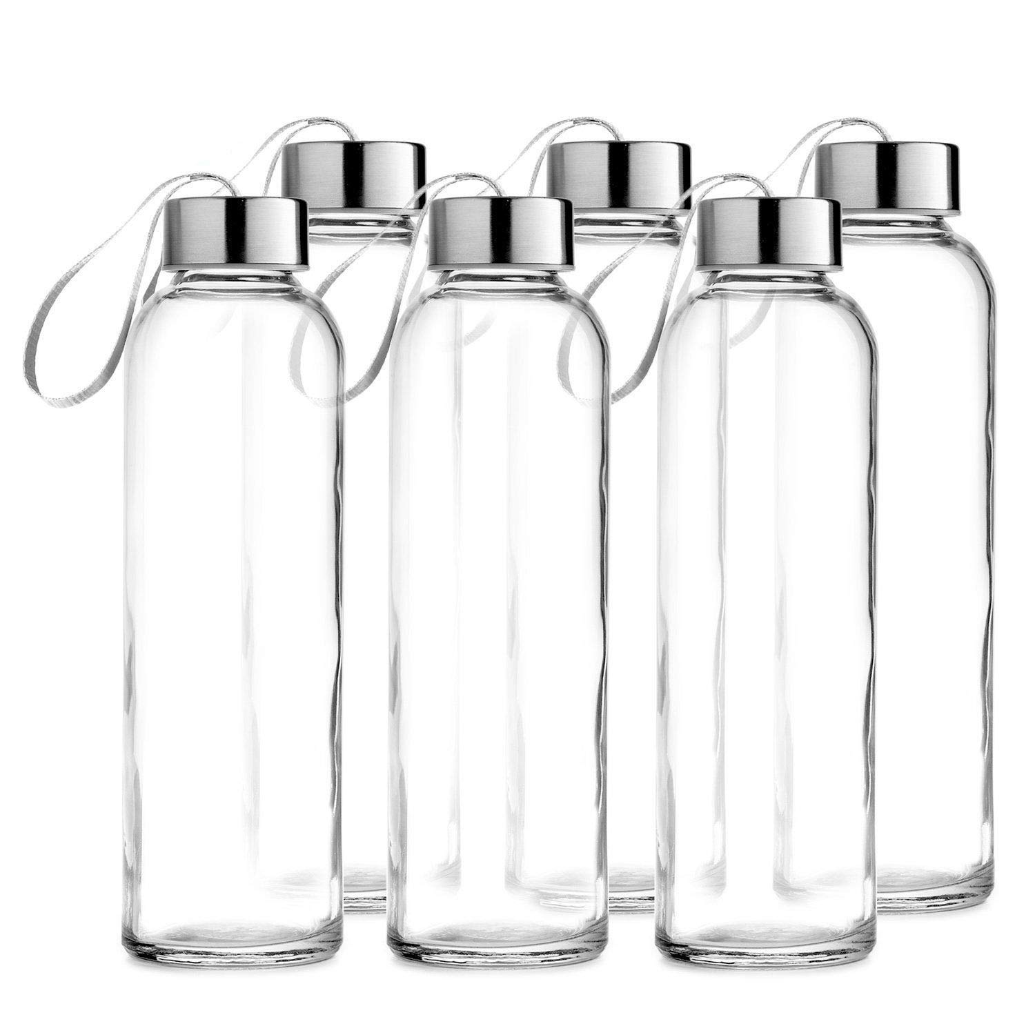 Chef's Star Glass Water Bottle 6 Pack 18oz Bottles for Beverages and Juicer Use Stainless Steel Leak Proof Caps with Carrying Loop - Including 6 Black Nylon Protection Sleeve by Chef's Star
