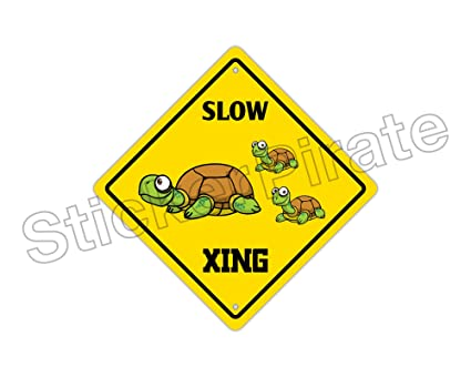 Slow Turtle Crossing >> Amazon Com Stickerpirate Slow Turtle Crossing Funny Metal Novelty