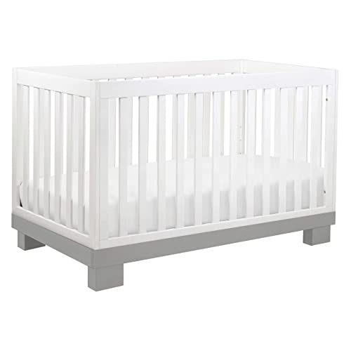 Babyletto Modo 3-in-1 Convertible Crib with Toddler Bed Conversion Kit in Grey White, Greenguard Gold Certified