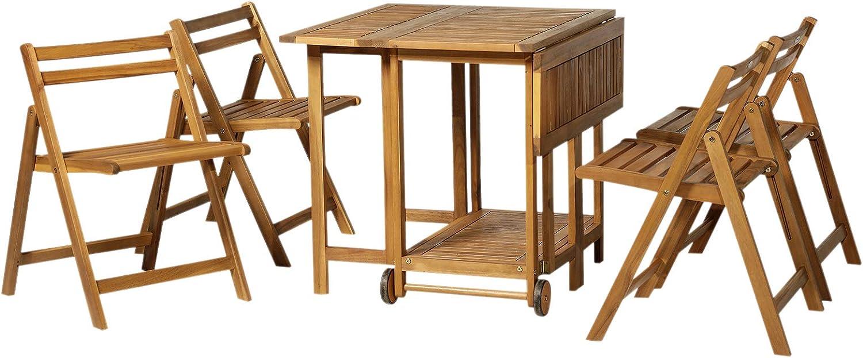 Outsunny - Juego de comedor extensible con ruedas, 4 sillas plegables de madera de acacia, 100, 5 x 82 x 75 cm, color marrón: Amazon.es: Jardín