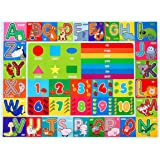 Pauwer Kids Rug Funny Educational Play Area Rug with Non Slip Rubber Backing Playtime Collection ABC Alphabet Numbers and Fruit Learning Area Rug Carpet for Living Room Bedroom Playroom Classroom