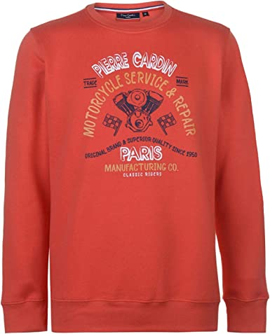 Pierre Cardin - Sudadera para hombre, diseño estampado, cuello redondo coral XL: Amazon.es: Ropa y accesorios