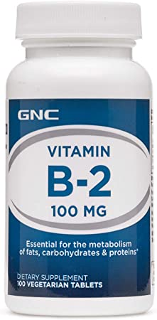 GNC Vitamin B-2 100mg, 100 Tablets, Metabolizes Fats, Proteins and Carbohydrates