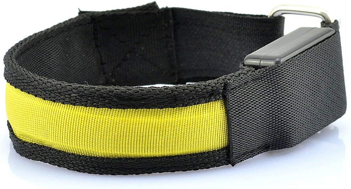 Sunnyflowk Bike Arm Warmer Belt LED Luminous Armband LED Safety Sports Belt Strap Snap Wrap Light Up Arm Band LED Armband yellow