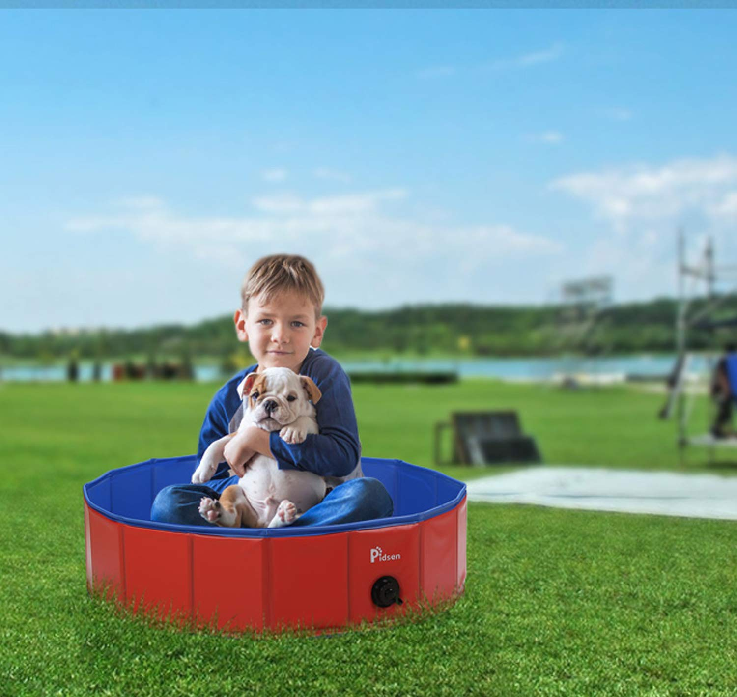 Red 31.5 31.5 7.9 Pidsen Foldable Dog Pet Bath Pool Pet Swimming Tub Collapsible Dog Pet Tub for Dogs, Cats or Kids (47.2 47.2 11.8 , orange)