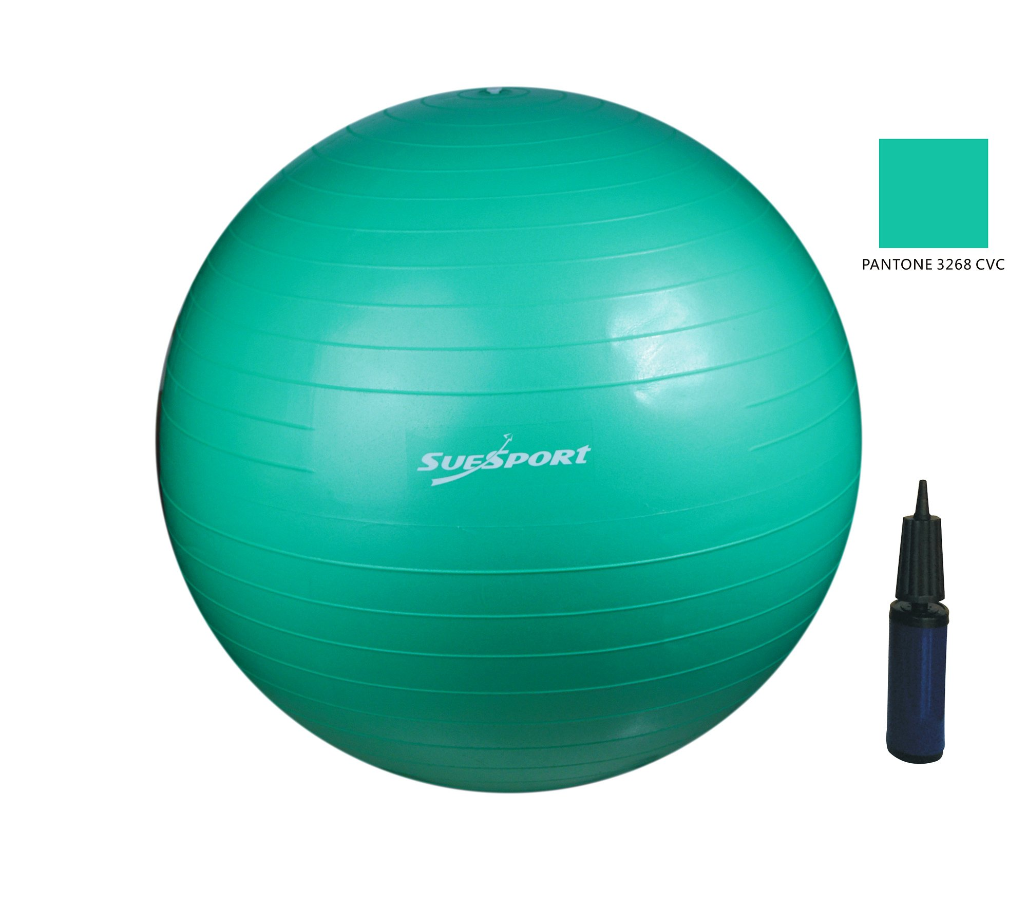 SUESPORT 1500lbs Static Strength Anti-Burst Exercise Ball Kit With Pump, Diameter 30'' (75cm), Aqua Green