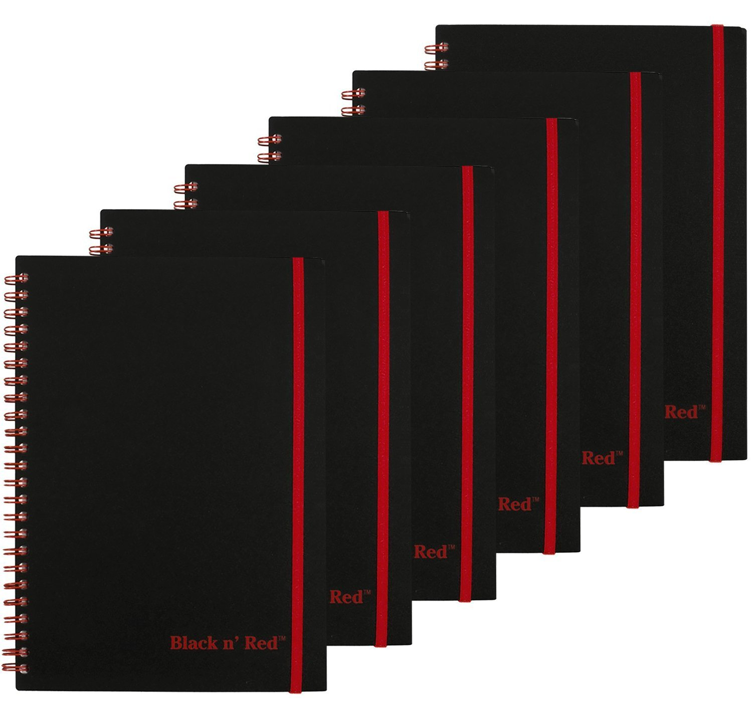 Black n' Red Twin Wire Poly Cover Notebook, 8-1/4 x 5-7/8, Black/Red