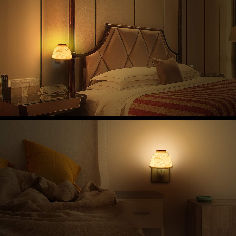 Nachtlicht Steckdose, Kimfly Keramik Kunst Nachtlicht Kind mit ätherischem Öl Aromatherapie Ofen und Glühbirne für Kinderzimmer, Schlafzimmer, Badezimmer, Gang usw. (Warmweiß) [Energieklasse A+]