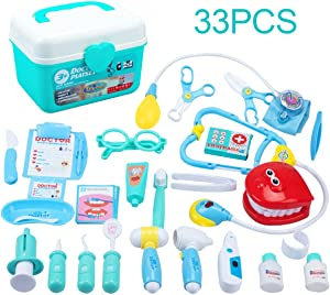 Juboury Kids Doctor Kit 33 Pieces Toy Medical Kits Pretend-n-Play Dentist Medical Kit with Electronic Stethoscope for Kids, School Classroom, Easter Stuffers, Party and Role Play
