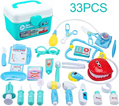 Juboury Kids Doctor Kit 33 Pieces Toy Medical Kits Pretend N Play Dentist Medical Kit With Electronic Stethoscope For Kids School Classroom Easter