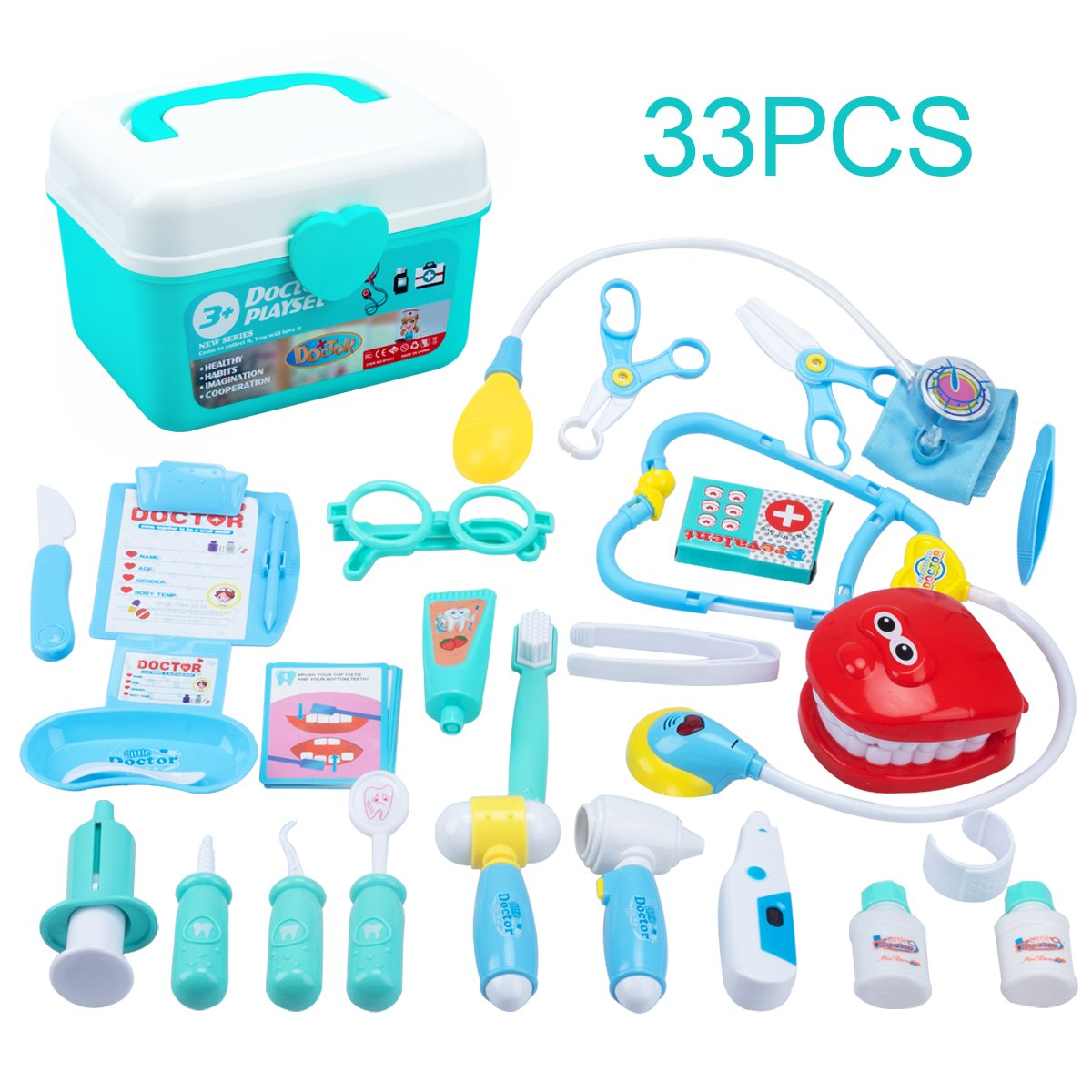 Juboury Kids Doctor Kit 33 Pieces Toy Medical Kits Pretend-n-Play Dentist Medical Kit with Electronic Stethoscope for Kids, School Classroom, Easter Stuffers, Party and Role Play by Juboury