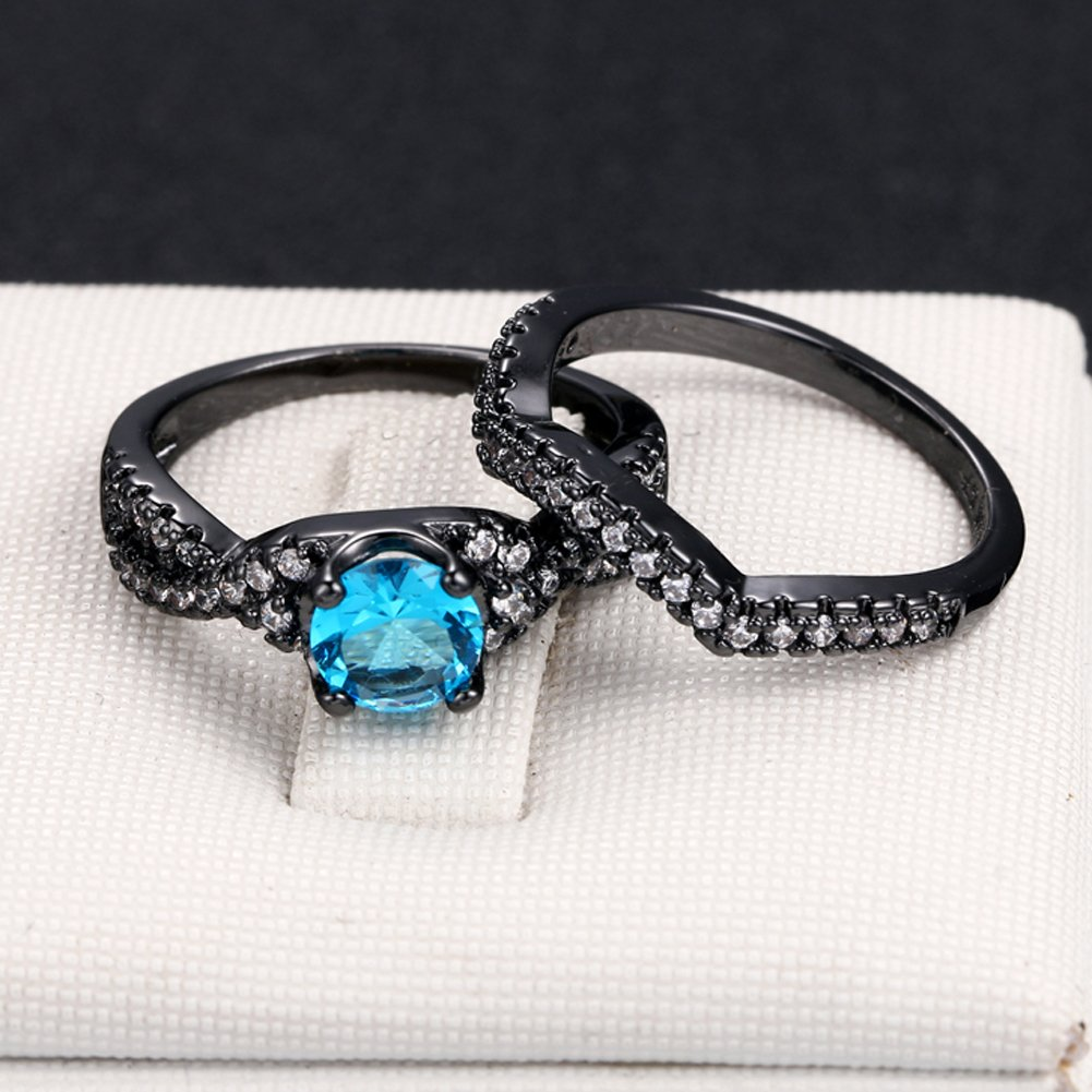 T-Ring Fashion Vintage Blue Square Zircon Black Gold Color Ring Jewelry for Women Wedding Engagement Rings