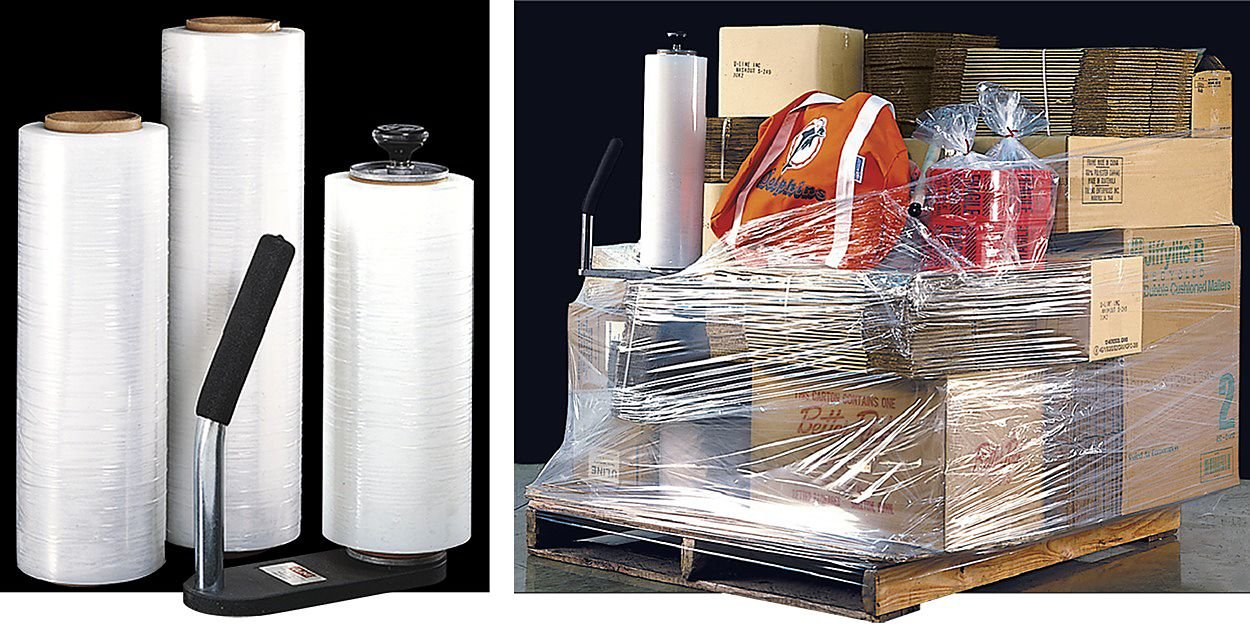 Clear Plastic Shrink Film, Industrial Strength Moving & Packing Wrap, 4 Pack 18'' x 1500 Ft Rolls with Best Selling Stretch Film Dispenser with Tension Knob Adjustment for Furniture, Boxes & Pallets