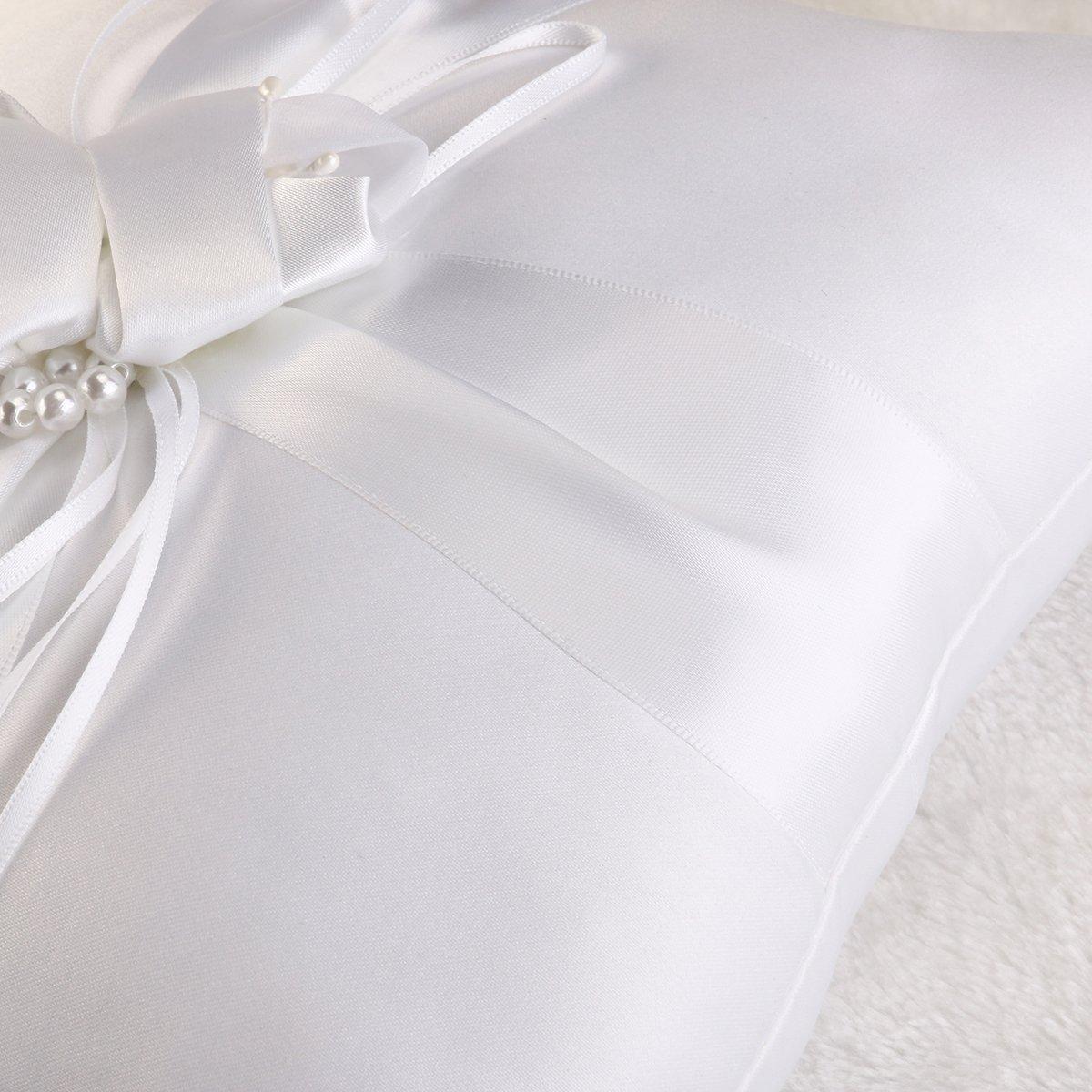 blanc pur Tinksky Bague de mariage romantique oreiller nuptiale anneau porteur oreiller coussin avec des rubans de perles 25x25cm