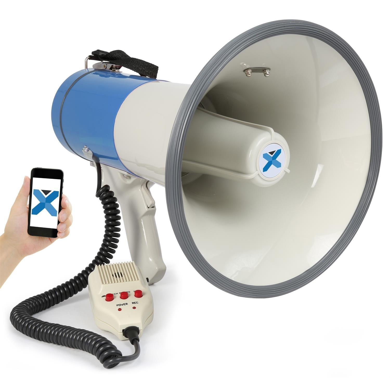 Vexus MEG055 Megafono a batteria con Bluetooth, funzione registrazione, microfono (55 Watt, raggio 1 KM, USB SD, microfono rimovibile, leggero)
