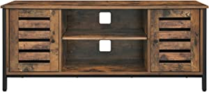VASAGLE TV Stand for 50 Inches TV, TV Console Table with Storage Shelves, Cabinet with Storage, Louvered Doors, Entertainment Center for Living Room, Entertainment Room, Rustic Brown ULTV43BX