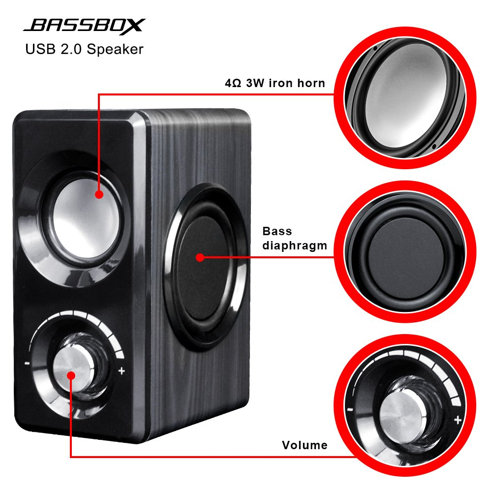 BASSBOX USB 2.0 Channel Computer Speakers with Stereo Sound for Mac,PC,Laptop,Smart Phone and More by BASSBOX (Image #2)