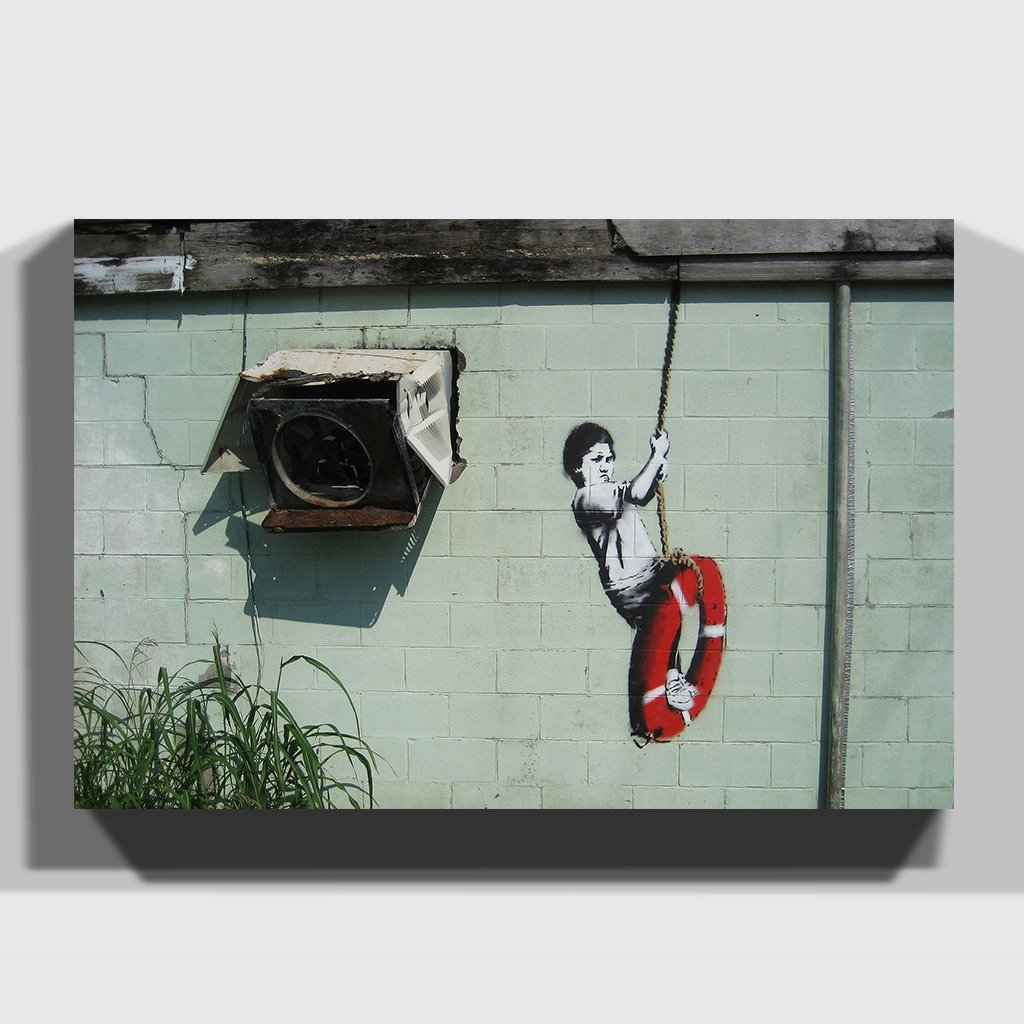 Arty Pie Banksy Swinger Building Graffiti Framed Wall Picture Print ...