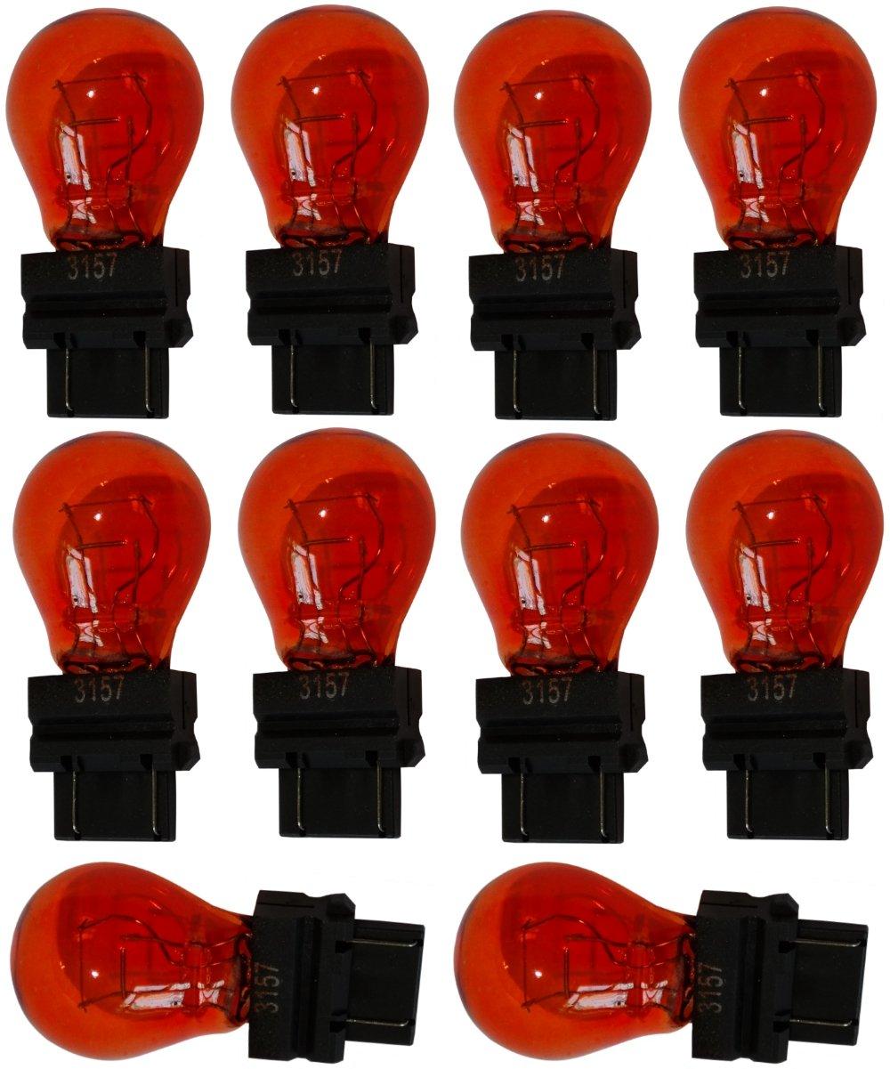Aerzetix: 10x Ampoule 12V 3157 W2.5x16Q P27/7W Orange Ambré SK2-C12035-AB7