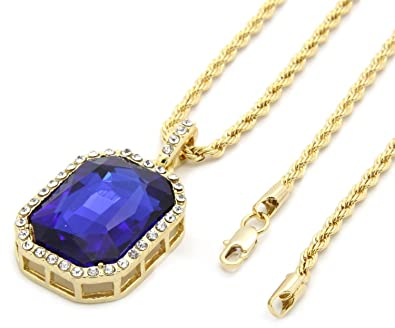 Foonee mens gold tone iced out blue ruby octagon pendant with 3mm 24 foonee mens gold tone iced out blue ruby octagon pendant with 3mm 24quot rope chain aloadofball Choice Image