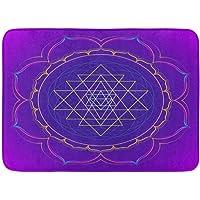 "Outdoor/Indoor Door Mat Colorful Abstract Colored Mandala Sacred Geometry Sri Yantra Lotus Dark Alchemy Bathroom Decor Rug 16"" x 24"""