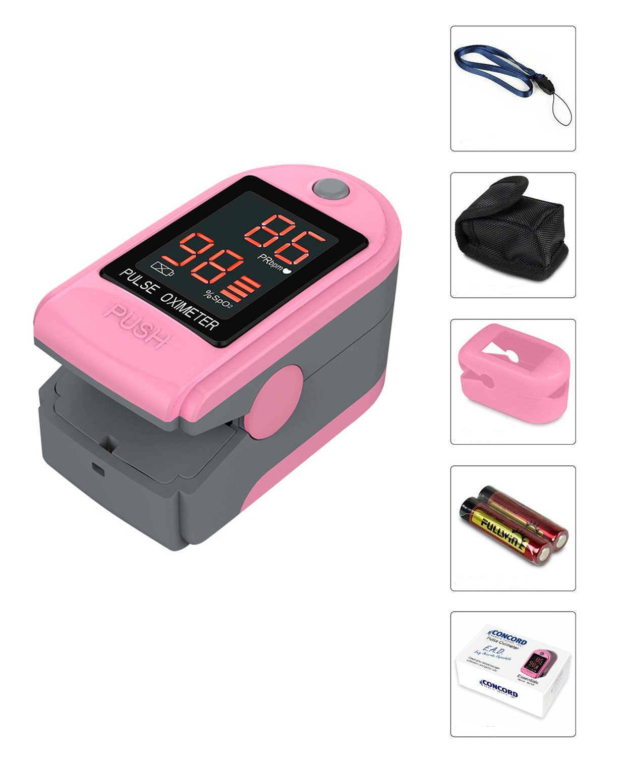 Concord-Health-Supply-EAD-Essentials-Fingertip-Pulse-Oximeter-Blood-Oxygen-Saturation-SpO2-Monitor-includes-silicon-cover-carrying-case-batteries-and-lanyard