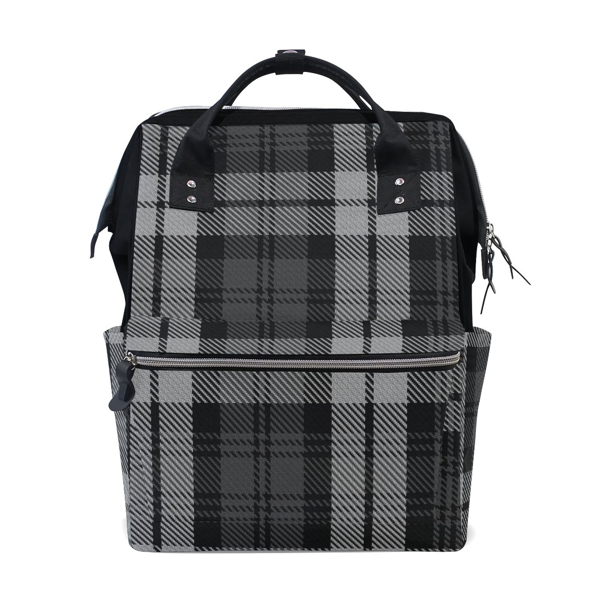 Diaper Bags Backpack Purse Mummy Backpack Fashion Mummy Maternity Nappy Bag Cool Cute Travel Backpack Laptop Backpack with Black And Gray Plaid Pattern Daypack for Women Girls Kids by THENAGD