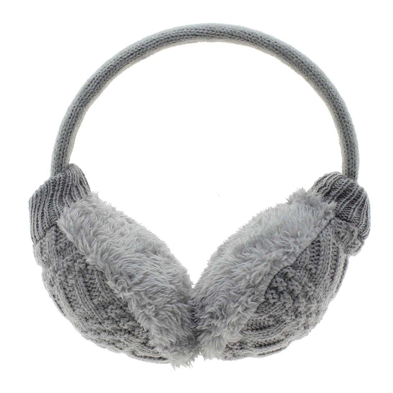MMRM Women Knitted Earmuffs Earwarmers Winter Warm Earlap Unpick n Washable - Gray