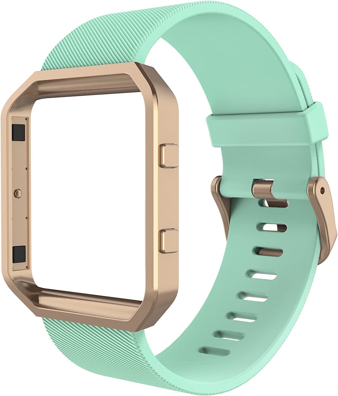 Simpeak Sport Band Compatible with Fitbit Blaze Smartwatch Sport Fitness, Silicone Wrist Band with Meatl Frame Replacement for Fitbit Blaze Men Women, Small, Green Rose Gold Frame