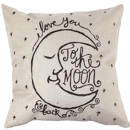 peyan luna patrón impreso cuadrado sofá funda de almohada ...