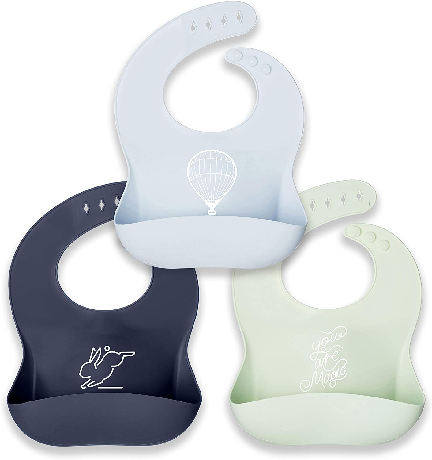 Silicone Baby Bibs, Food Catcher Pocket, Food Grade Material, Waterproof Toddler Bib, Easy to Clean & Wash