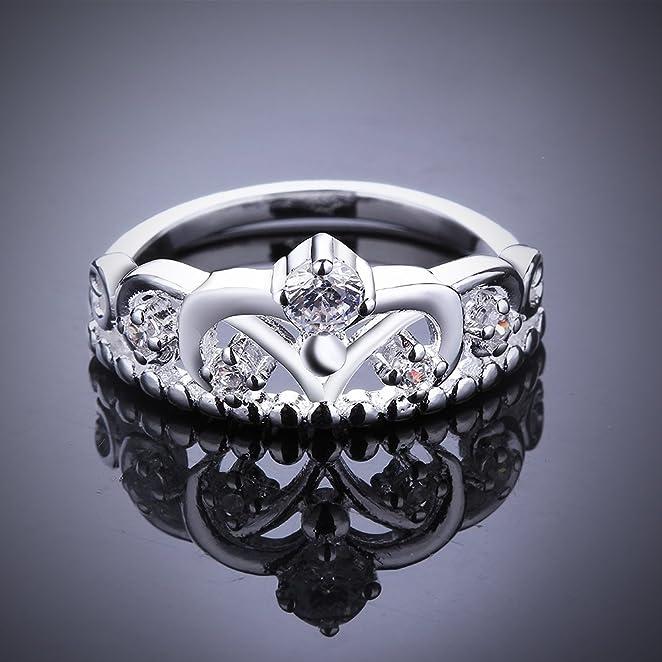 Amazoncom Womens 925 Sterling Silver Gorgeous CZ Princess Crown