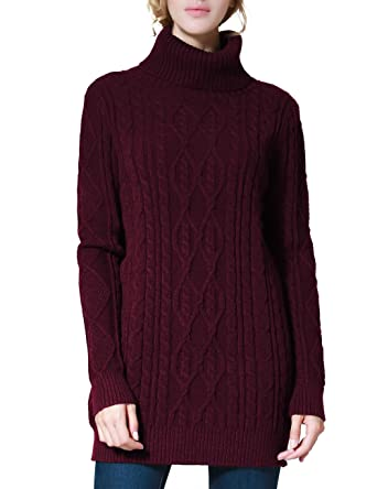 PrettyGuide Women's Long Sweater Turtleneck Cable Knit Tunic ...