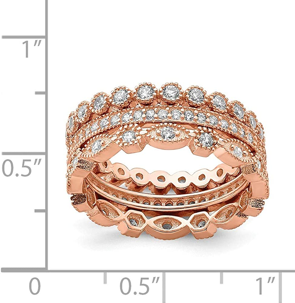 925 Sterling Silver Rose Tone Cubic Zirconia Cz Set Of 3 Eternity Band Rings Ring Stackable Fine Jewelry For Women Gifts For Her