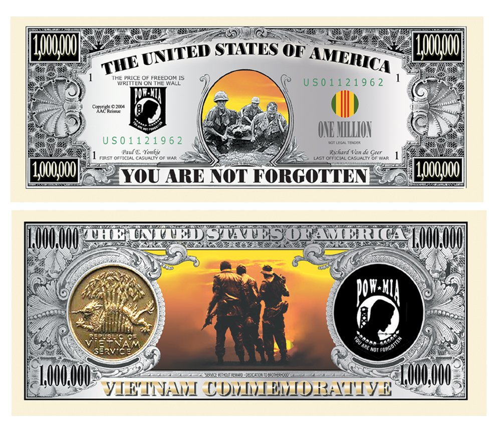 Amazon Com American Art Cl Ics Pow Vietnam Memorial Million Dollar Bill Comes In Currency Protector Toys Games