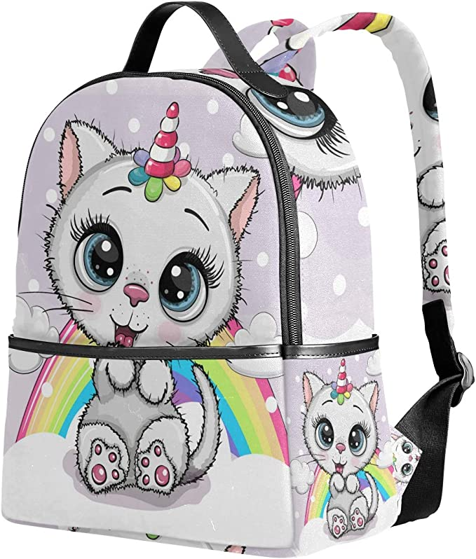 Ahomy Mochila de dibujos animados gato gatito unicornio arco iris mochila viaje camping mochilas escuela para niñas niños mujeres