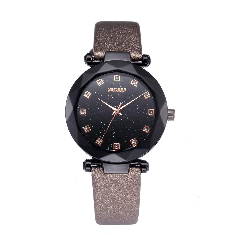 Fashion Quartz Ladies Convex Glass Leather Watches Clock Wristwatch