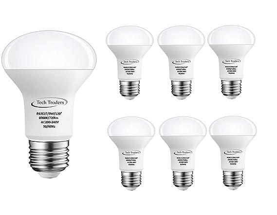 Bombillas LED E27 para reflector R63, incandescentes de 90 W equivalentes a bombilla LED de bajo consumo de 9 W, color blanco frío/blanco cálido, 720 lm, ...