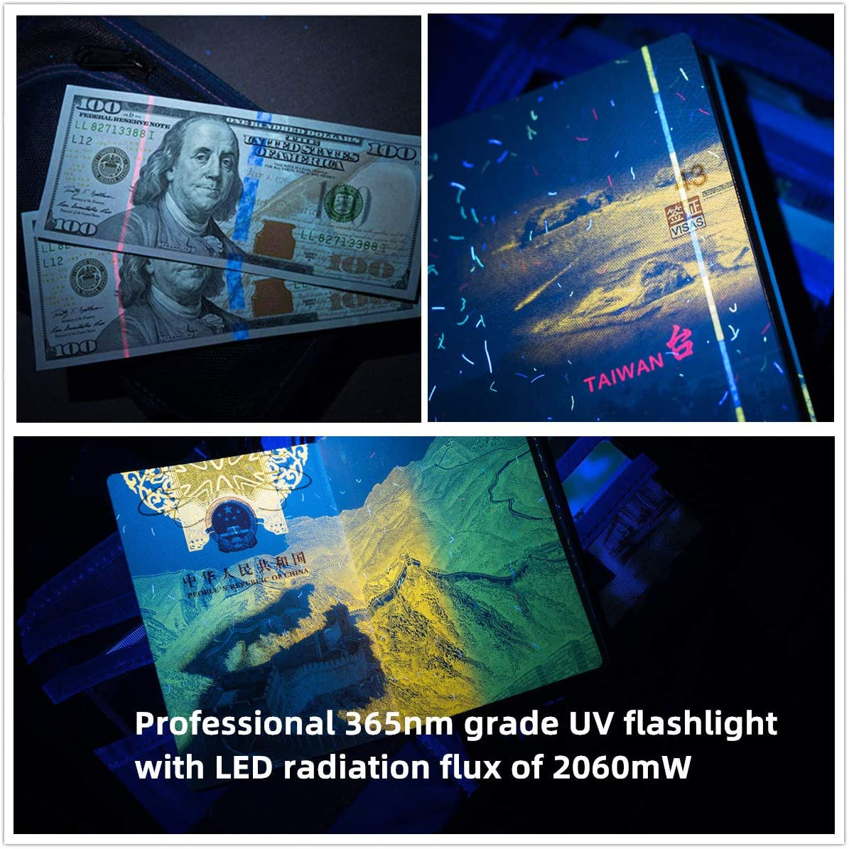 diagn/óstico de fugas Lente de cristal de filtro negro resistencia al agua Weltool M2-BF UV Linterna LED Ultravioleta 365 nm UV-A Luz Negra fijaci/ón de u/ñas de gel